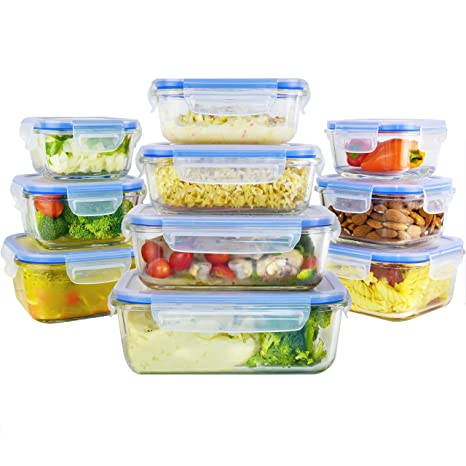 Glass Food Storage Containers Set With Airtight Locking Lids U0026 Free Ice  Pack, Zestkit Portion