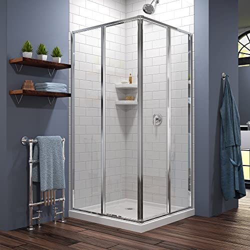 DreamLine Cornerview 36 in. D x 36 in. W x 74 3 4 in. H Framed Sliding Shower Enclosure in Chrome with White Acrylic Base Kit, DL-6710-01