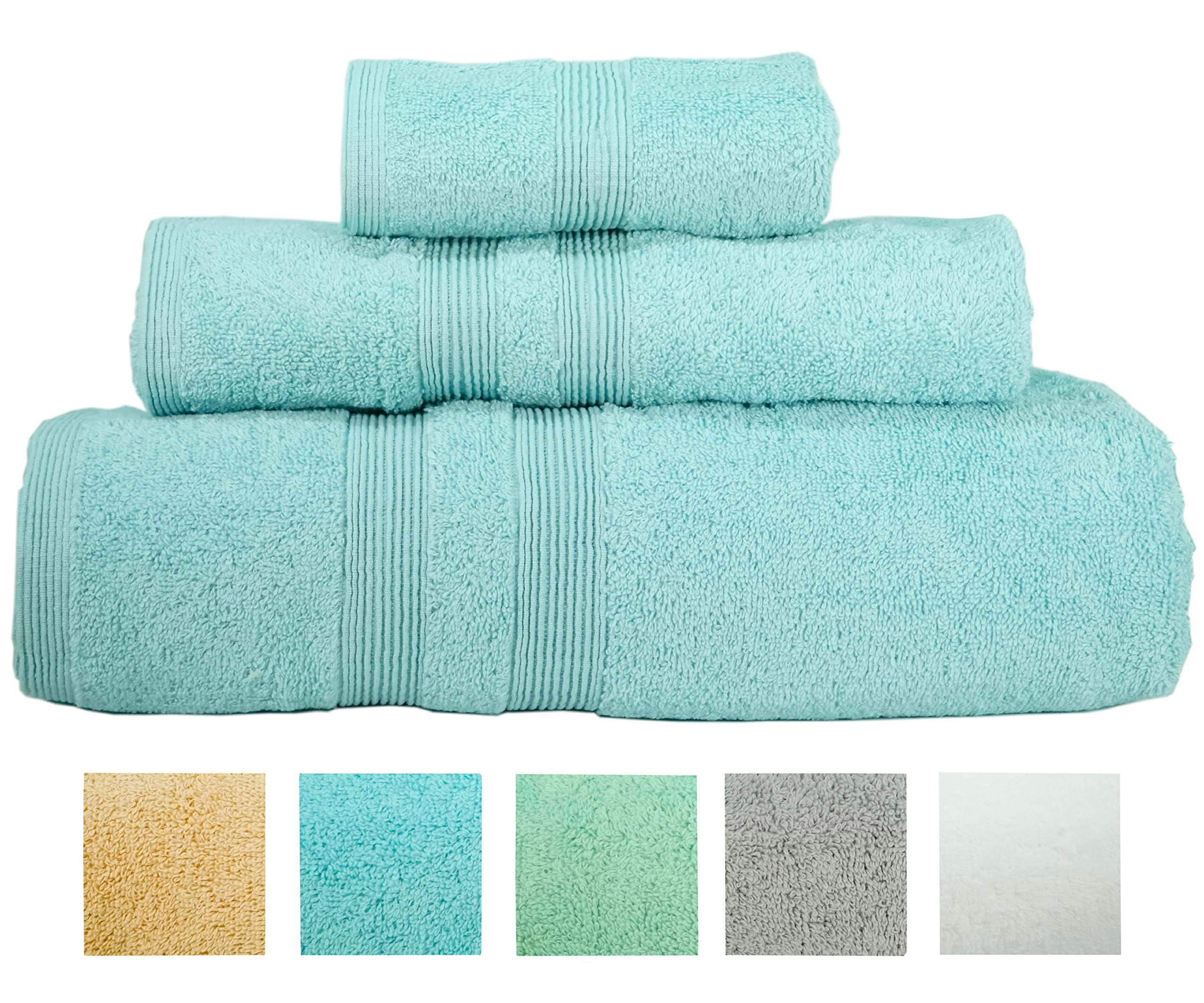 Turkish Bath Towel Set Spa Hotel Premium Loop Terry 100% Natural Cotton Comfortable Super Soft Christmas Gifts Luxury (3 Towels) (Sterling Blue)