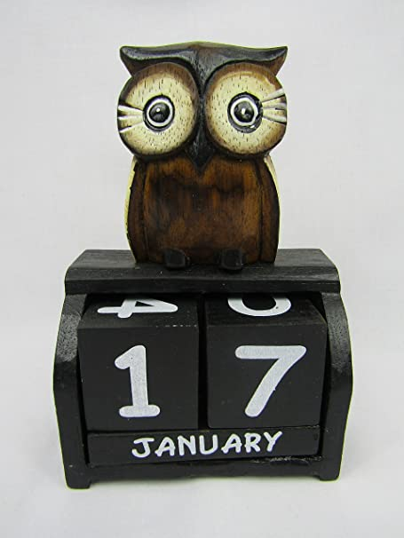 Handcarved Wooden Owl Medium Size 16cm tall  Fair Trade From Thailand