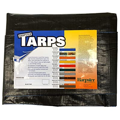 10 Ft. X 12 Ft. Heavy Duty 6 Oz. BLACK Poly Tarp 11-12 Mil Thick
