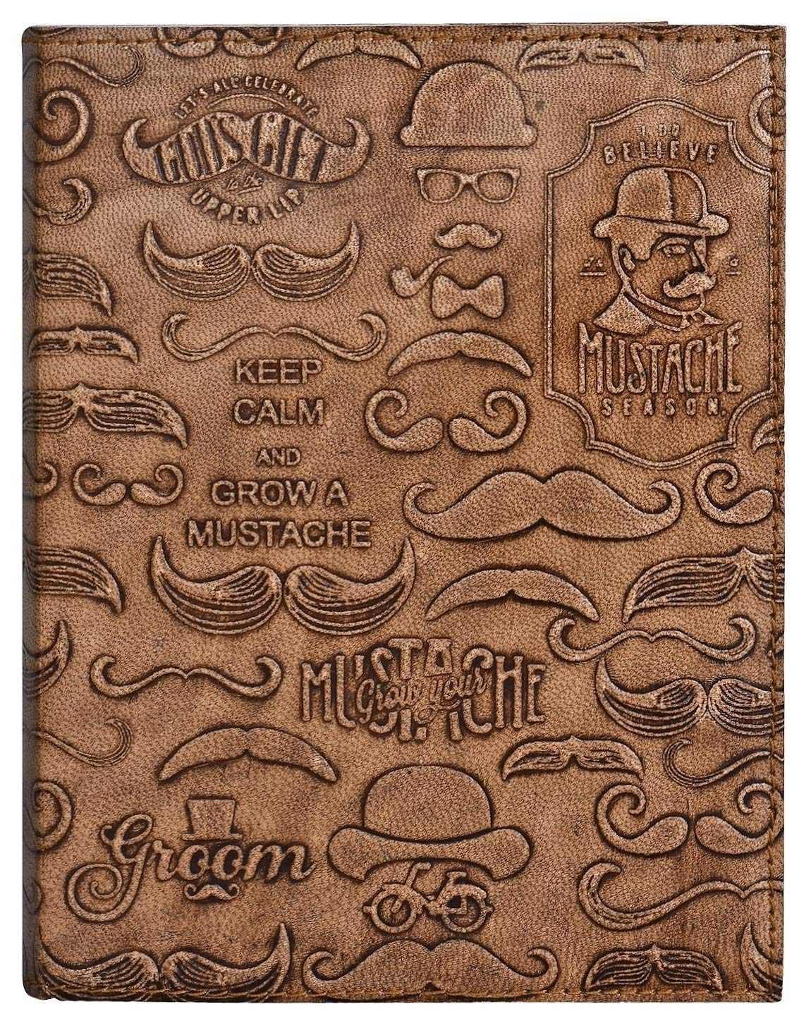 Leather Journal for Men - Grow Your Mustache Notebook Diary - Five Minute Journal for Travelers, Music Lovers & Professional