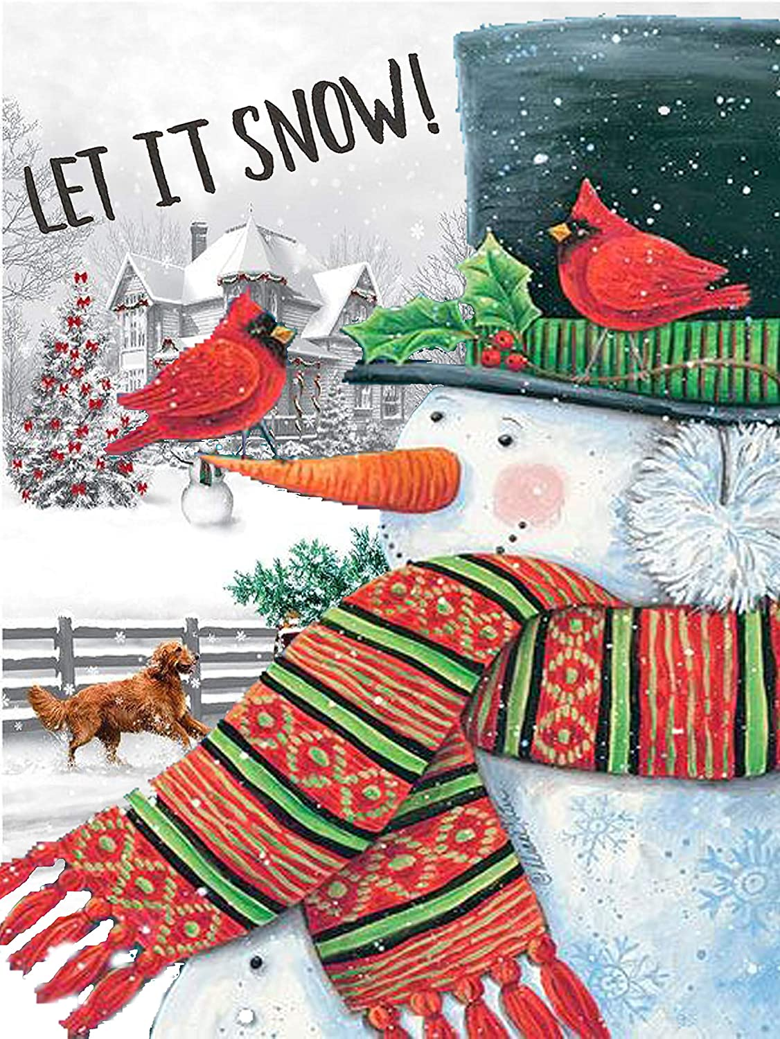 Christmas Snowman Cardinal Bird Garden Flag 12 x 18 Double Sided Snowflake Dog Let it Snow House Yard Flags Welcome Winter Outdoor Indoor Banner for Party Home Merry Christmas Decorations