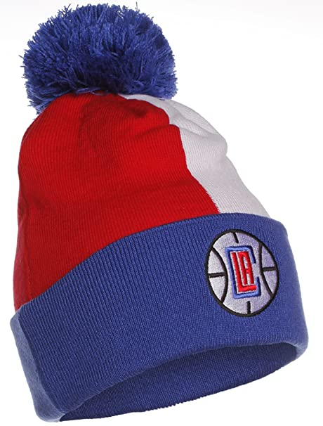 96ca8c7299c Amazon.com  Mitchell and Ness Los Angeles Clippers Men s Knit Beanie Hat  Red Blue  Sports   Outdoors