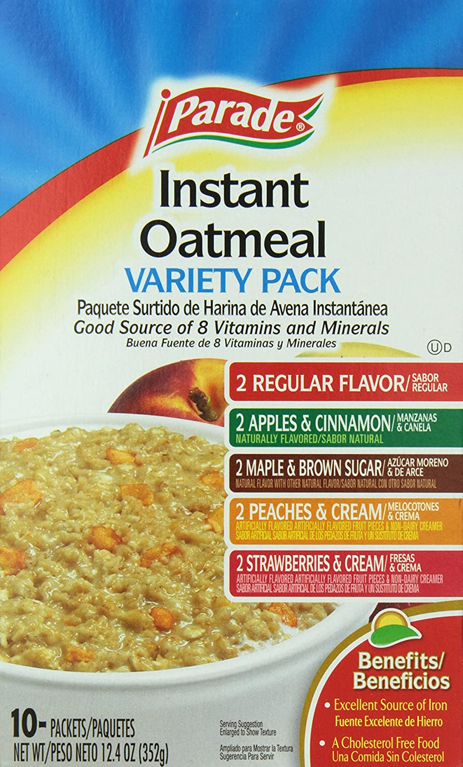 Parade instant Oatmeal Variety Pack, 10 Packets, 12.5 Ounce