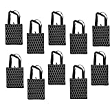 ReBagMe (TM) Set of 10 Large Reusable Grocery Bag Totes with Extra Reinforced Handles Sewn to the Bottom - With Loop for Grocery Stores - Includes Insert on Bottom of Bag for Extra Support (10, Black)