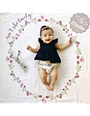 Lulujo Baby's 1st Year Isn't She Lovely Blanket and Card Set, White/Pink/Green/Yellow/Purple
