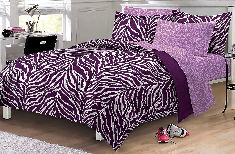 Zebra Purple Ultra Soft Microfiber Girls Comforter Sheet Set CHF Industries 2A745201PP