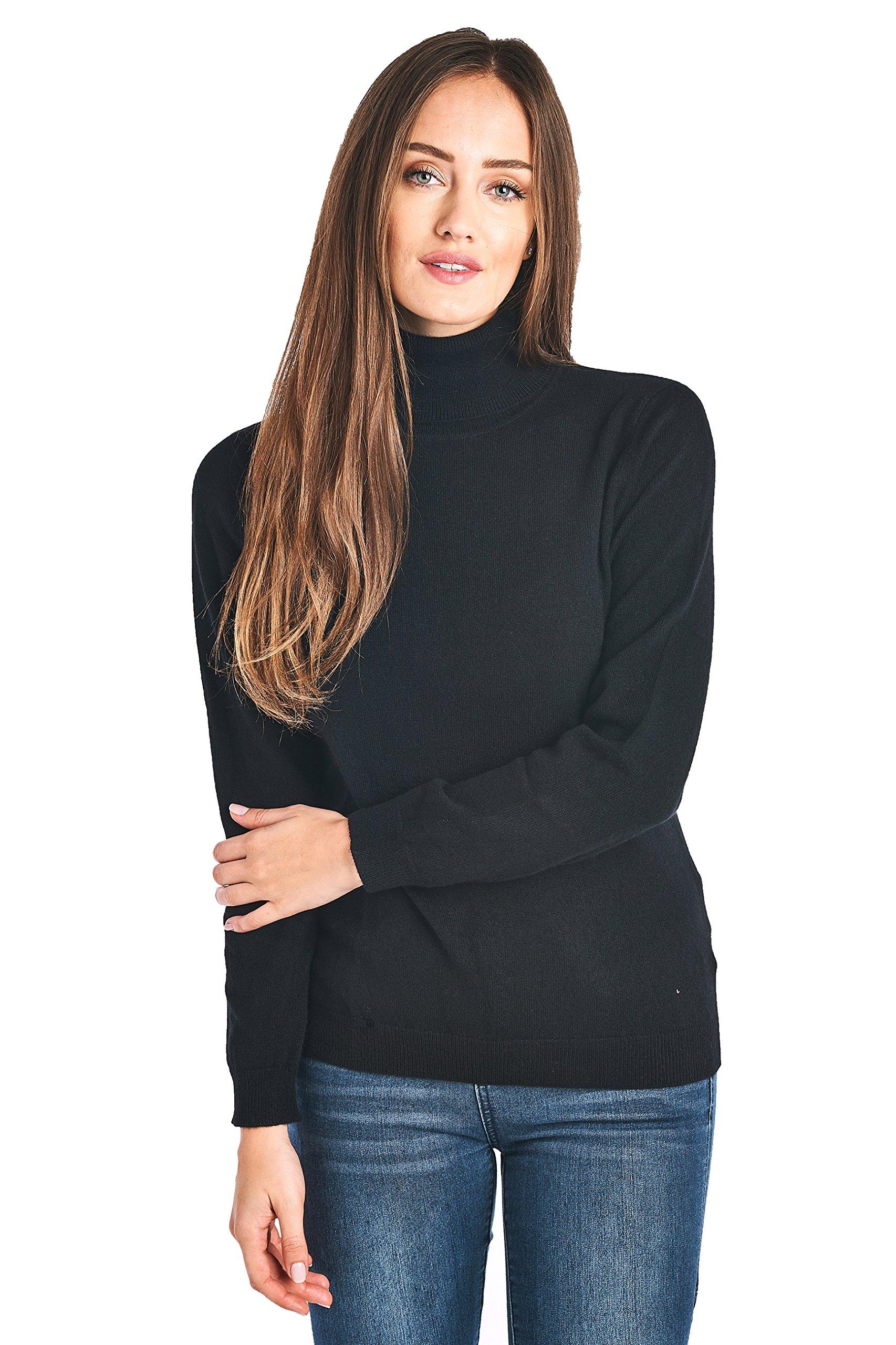 High Style Women's 100% Cashmere Long Sleeve Turtleneck Sweater (1303, Black, S)