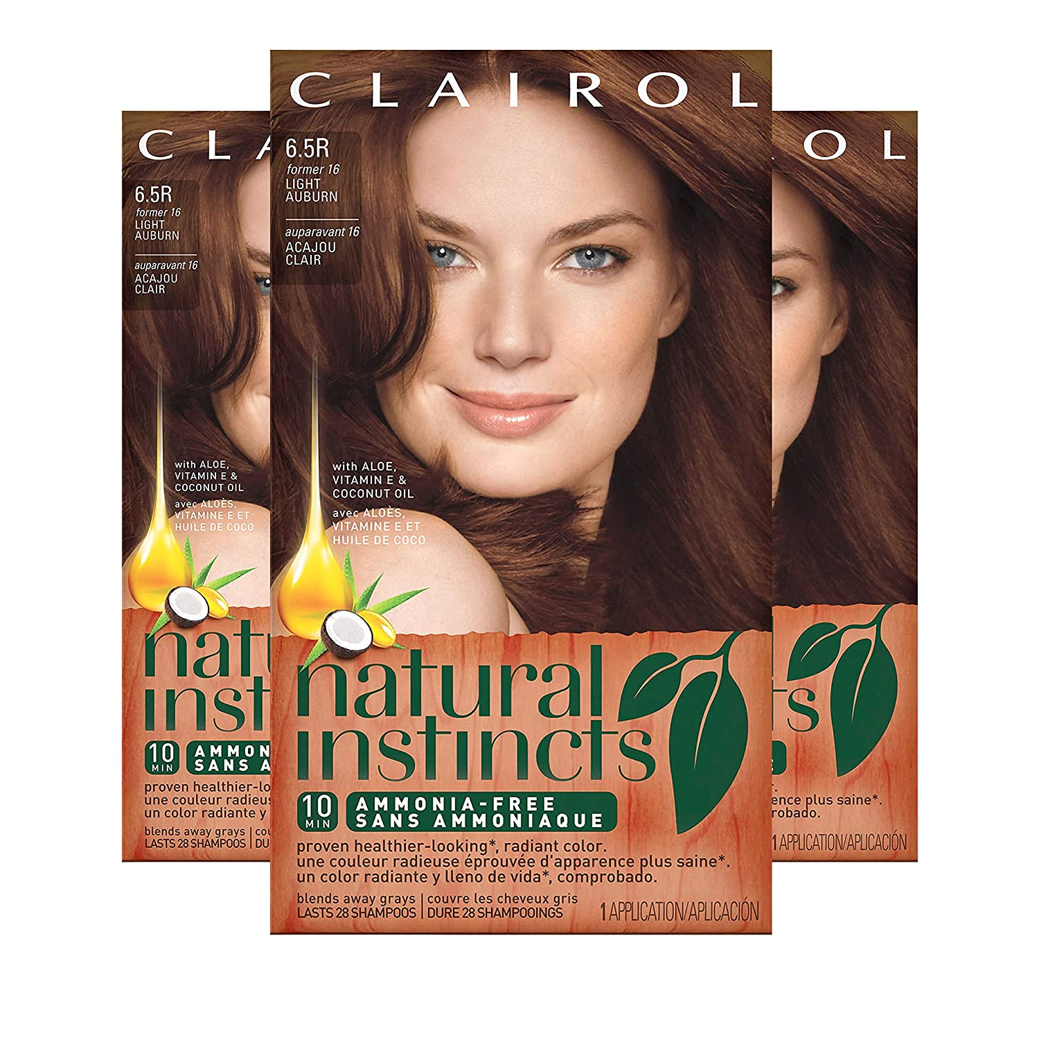Clairol Natural Instincts Hair Color 16 Spiced Tea Light Auburn, Semi-permanent Hair Color, 3 Count (Packaging May Vary)