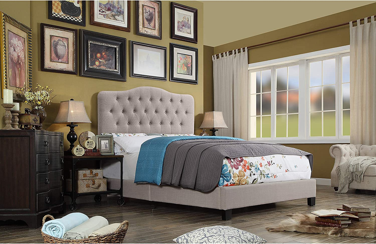 Amazon Com Rosevera Givanna Upholstered Standard With Button Tufting Headboard Queen Beige