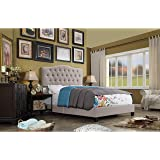 Rosevera Givanna Upholstered Standard Bed with Button Tufting Headboard, Queen