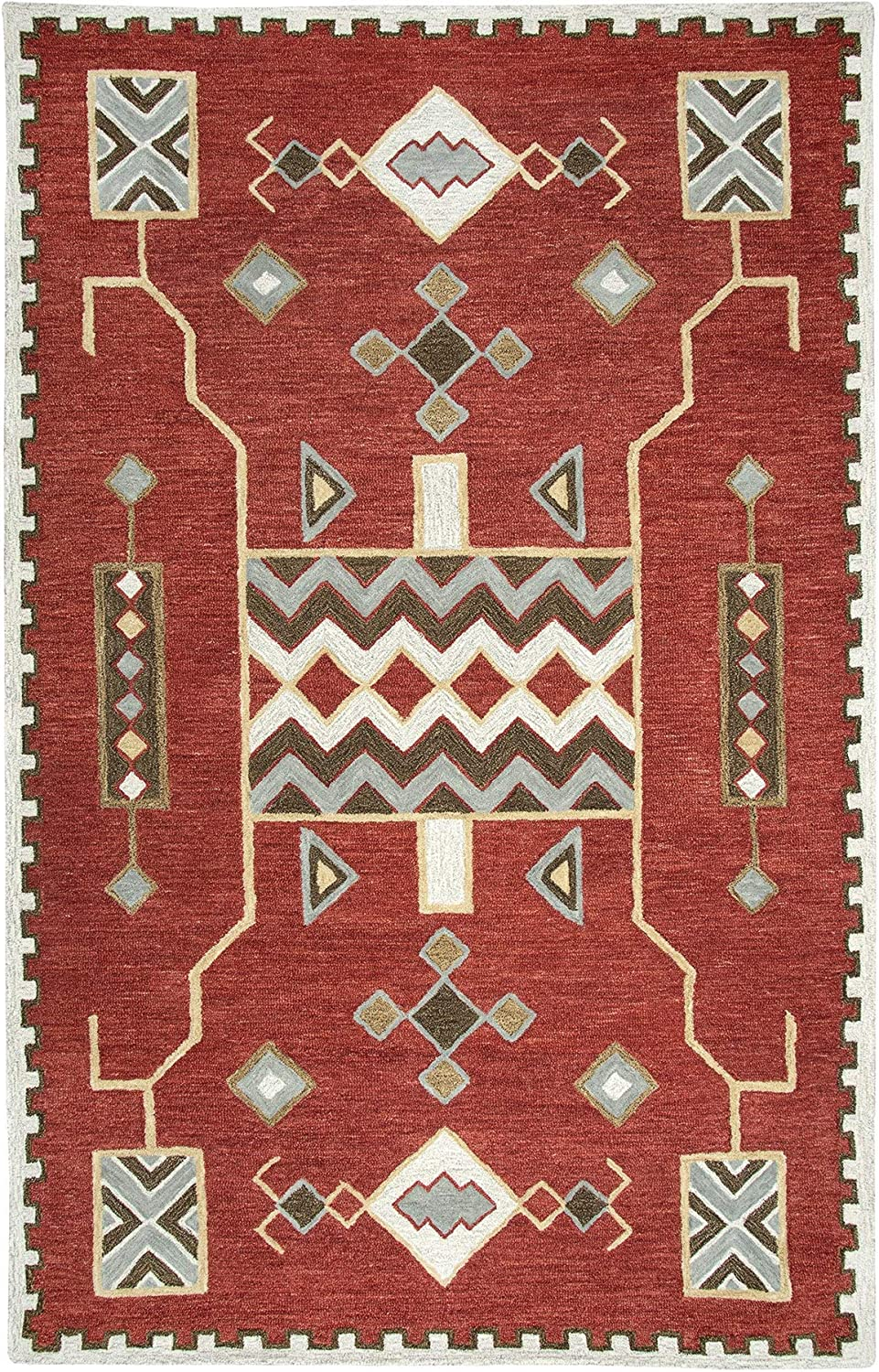 """Rizzy Home Mesa Red Southwest/Tribal Shag Area Rug - 18"""" x 18"""""""