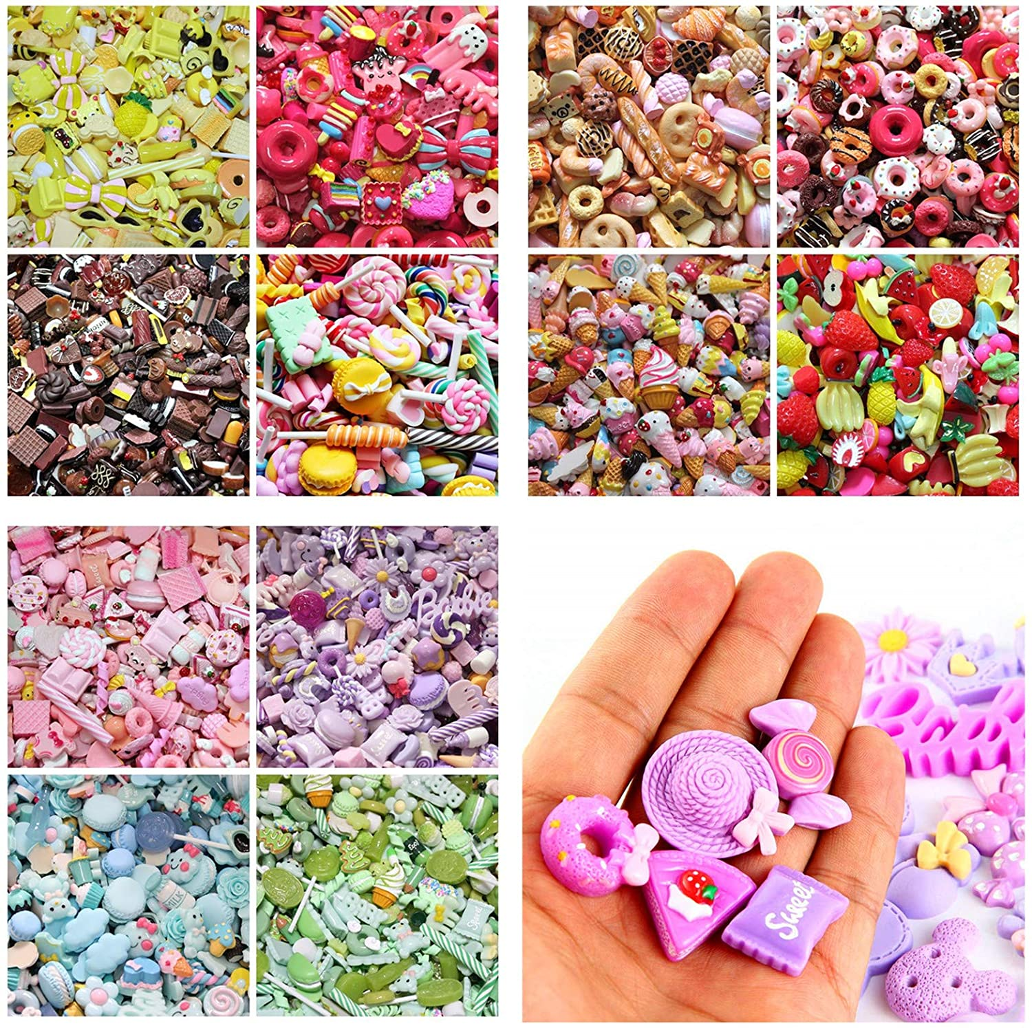 30Pcs assortiti cute Candy perline frutta dessert gelato in resina ciondoli fette Flatback bottoni per artigianato accessori scrapbooking del telefono Decor Lilac 10mm-25mm