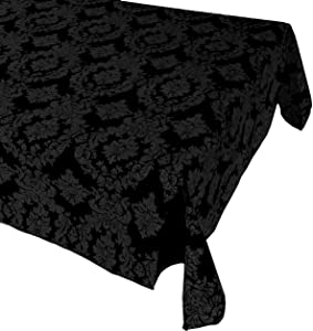 fabricbydesign Black Taffeta Damask Tablecloth/Fancy Pattern Tablecloth Decor/Dining Room and Event Decor (114