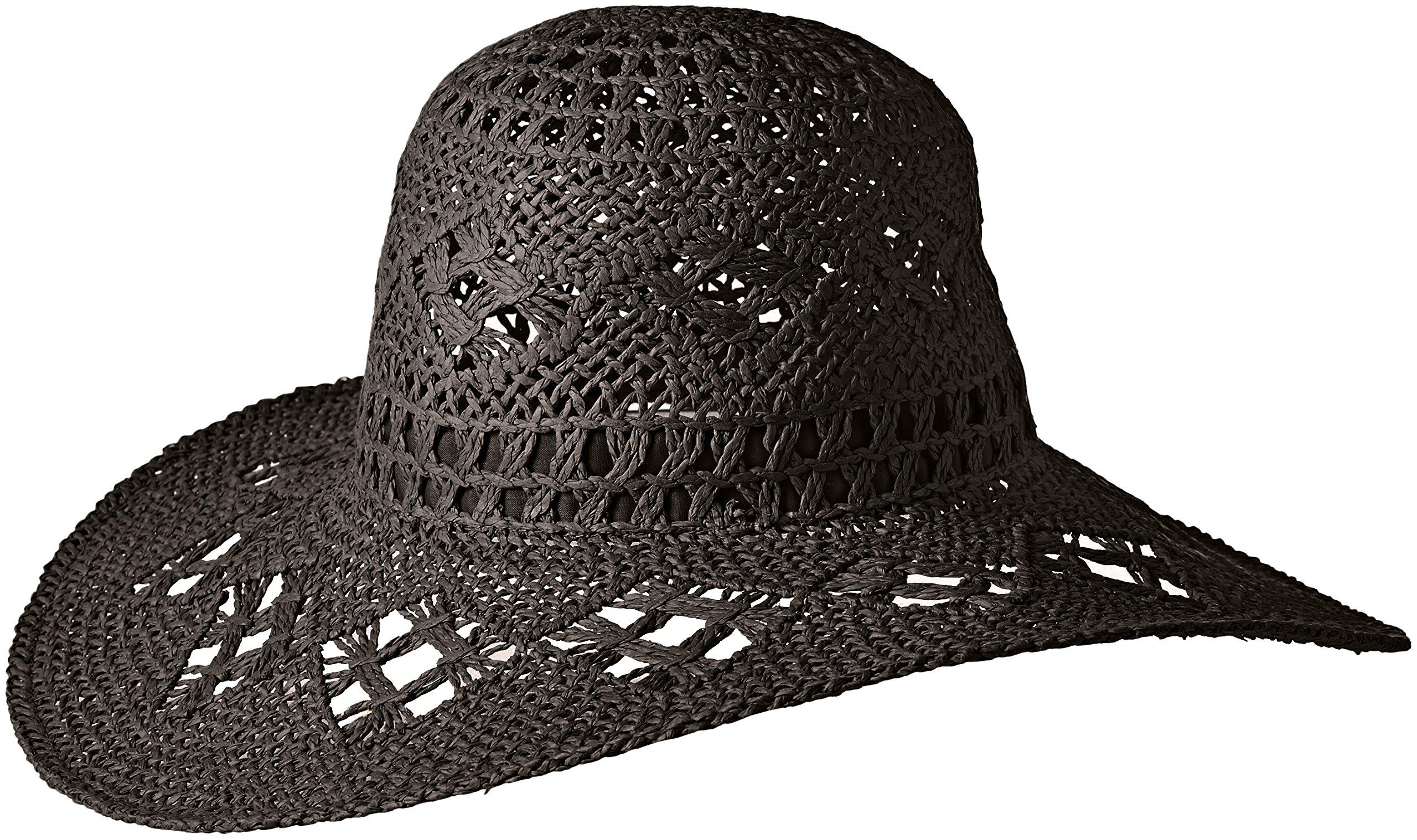 ale by Alessandra Women's Floresta Intricate Weave Toyo Boho Floppy Hat, Black, One Size