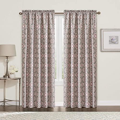 Home Soft Things Serenta 2 Piece Printed Coventry Curtain Set, LT Purple – Lavender, 60 x 84