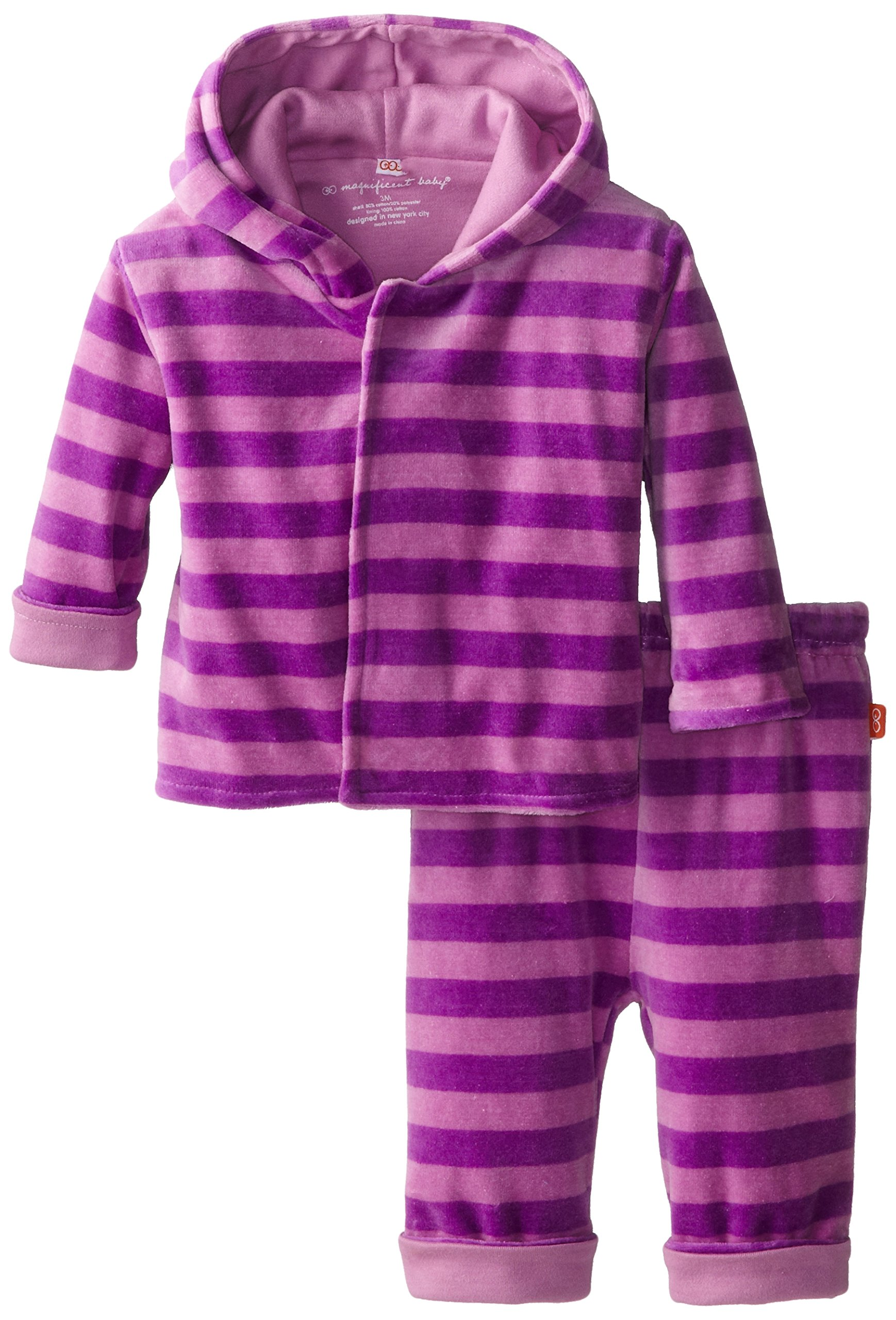 Magnificent Baby Baby Girls' Velour Hoodie and Pants, Pink/Lavender, 2T by Magnificent Baby