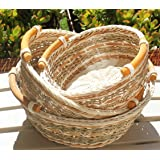 RT450120-3 Round Wicker/Rattan Bread or Storage Baskets in Gray and Brown with Curve Pole Handles