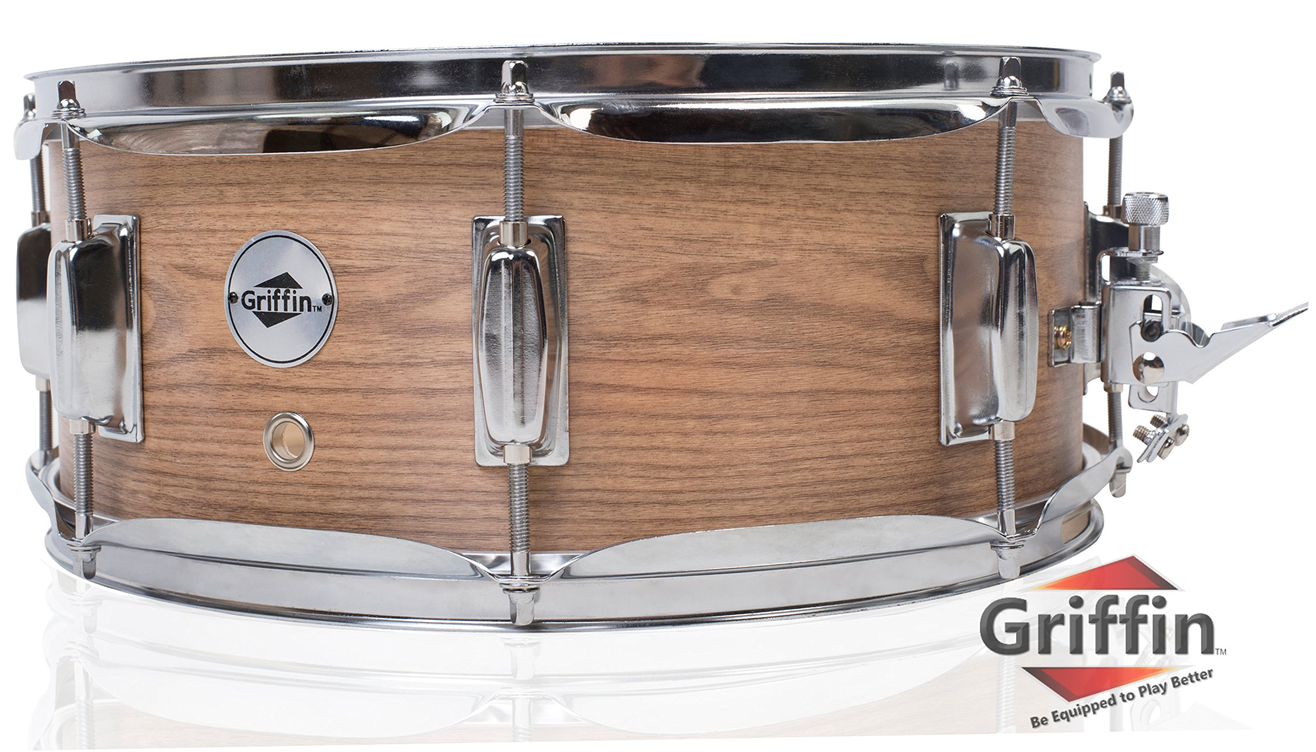 Oak Wood Snare Drum by Griffin | PVC on Poplar Wood Shell 14'' x 5.5'' | Percussion Musical Instrument with Drummers Key for Students & Professionals|8 Tuning Lugs & Deluxe Snare Strainer