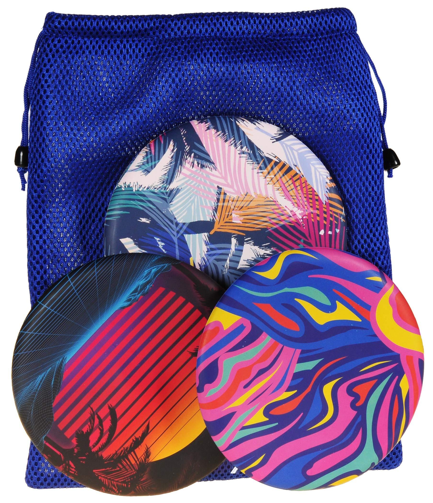 Waboba Wingman Flying Silicone Disc || Bundle of 3 Multi-Colors (SET1) || Bonus Blue Nylon Mesh Drawstring Carry Bag || Bundled Items by Waboba