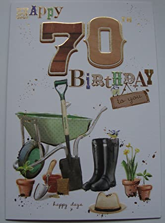 70th Birthday Card Male Garden Design With Insert Verse