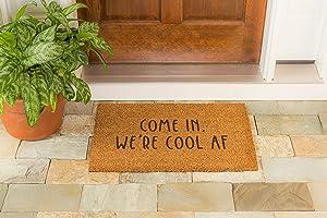 Evergreen Flag Funny Novelty Door Mat 28 x 16 Inches - Durable Indoor Outdoor Rug Come in, We're Cool AF
