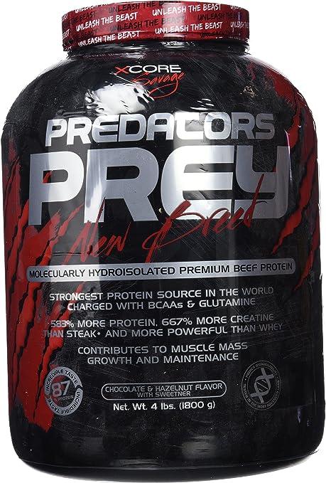 Predators Prey Pure Beef Protein Powder 1800g: Sabor a chocolate y avellanas – Suplemento de carne hidroaislado molecularmente de primera calidad con ...