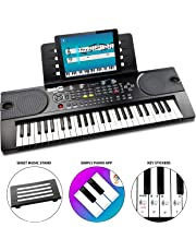 RockJam 49-Key Portable Digital Piano Keyboard with Music Stand, Power Supply and Note Key Stickers