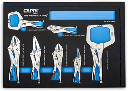 Capri Tools Klinge 7-Piece Locking Pliers Set with The Mechanic/'s Tray