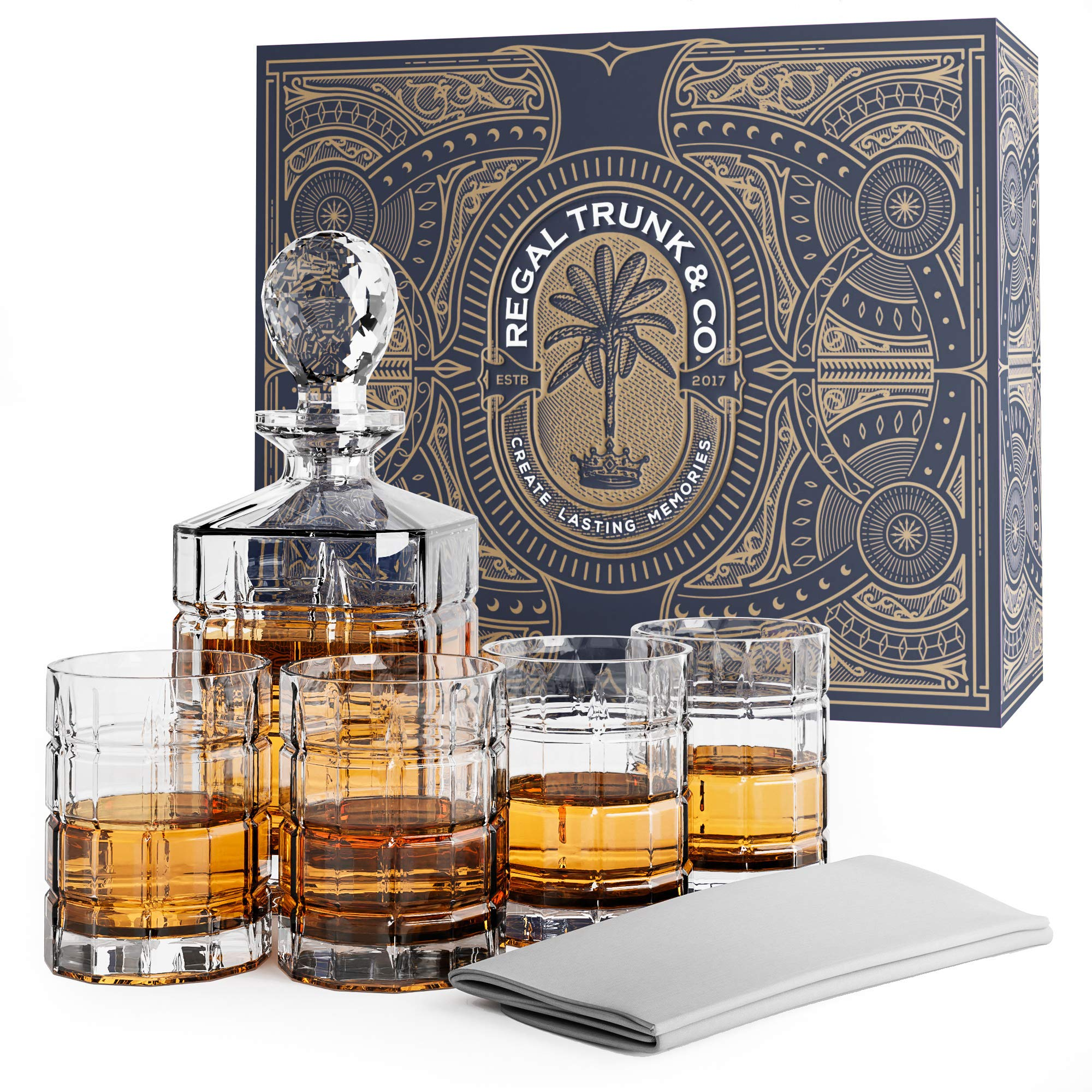 Elegant 5 Piece Whiskey Decanter and Glass Set in a Spectacular Gift Box - Lead Free Crystal Glass Decanter with 4 Whiskey Glasses | Bourbon Scotch Liquor Dispenser - Bonus Glass Polishing Cloth by Regal Trunk & Co.