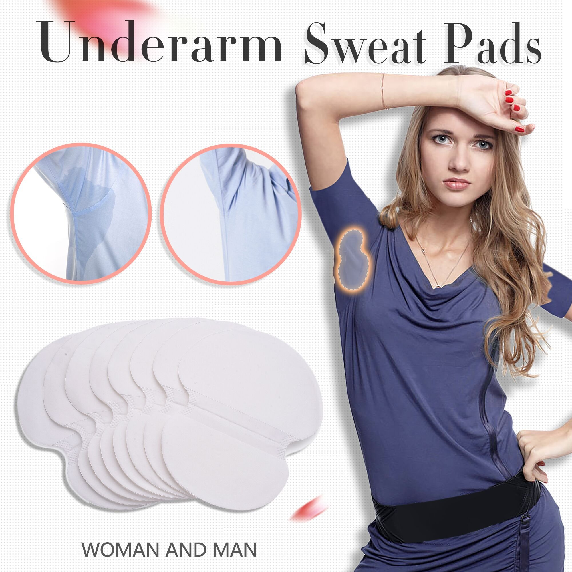 Underarm Sweat Pad - Voerou [60 Pack] Fight Hyperhidrosis Underarm Armpit Sweat Perspiration Pads Disposable Absorbent Underarm Dress Shields Antiperspirant Adhesive Underarm Pad For Women/Men