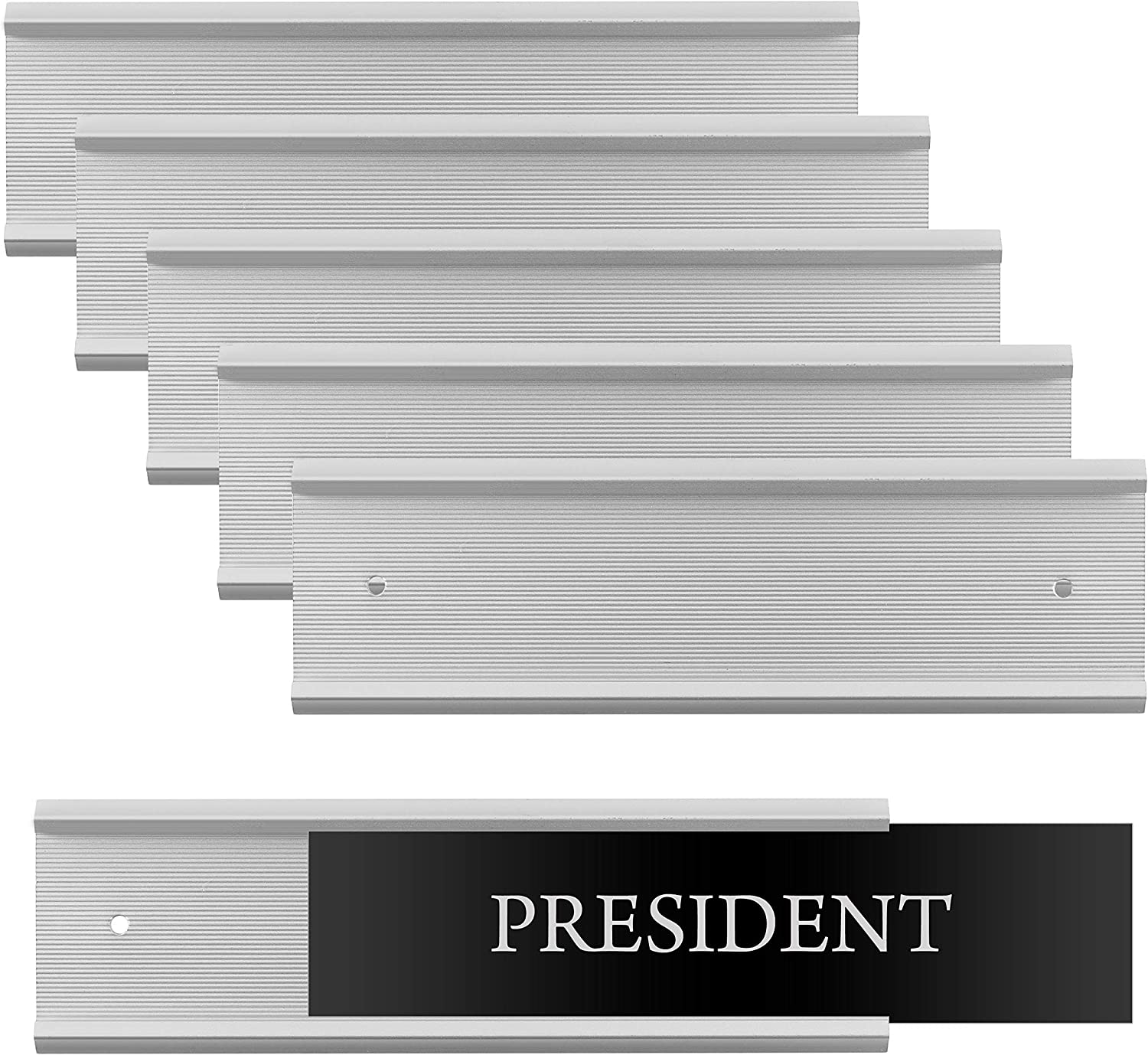 "Set of 6 – Sturdy and Elegant Silver Aluminum Wall Mount Name Plate Holder, Office Business Door Sign Holder, 8"" X 2"" - Hardware and Inserts are Not Included"