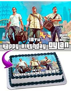 Grand Theft Auto Edible Cake Image Personalized Icing Sugar Paper A4 Sheet Frosting Photo