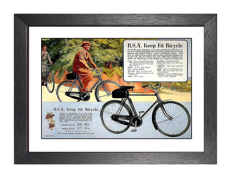 Amazon.de: BSA Keep Fit Fahrrad, gerahmt, A4 Poster, Vintage, Foto ...