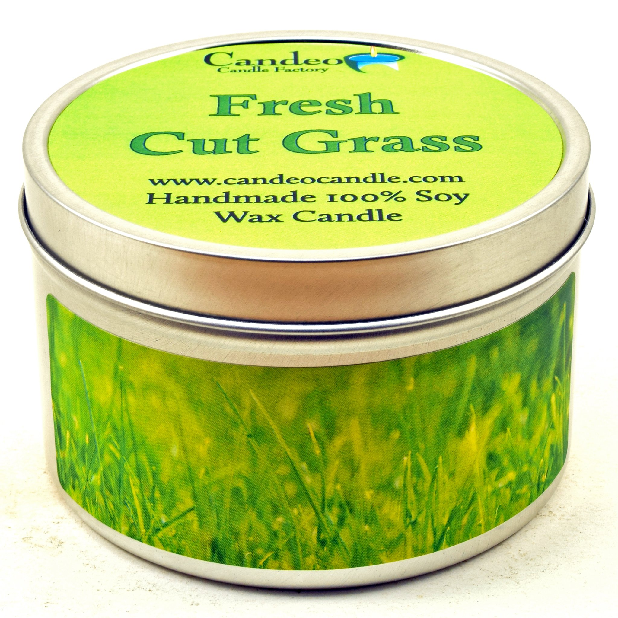 Fresh Cut Grass, Super Scented Soy Candle Tin (6 oz) by Candeo Candle (Image #1)