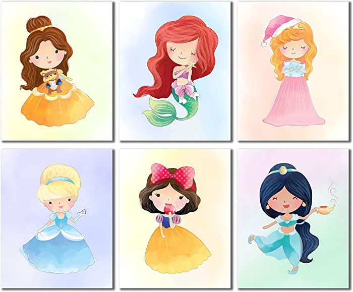Princess Kids Wall Decor - Belle Ariel Cinderella Snow White Jasmine Aurora Set of 6 Cute Art (8 inches x 10 inches) Prints