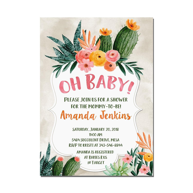 Amazon Com Cactus Succulents Baby Shower Invitations