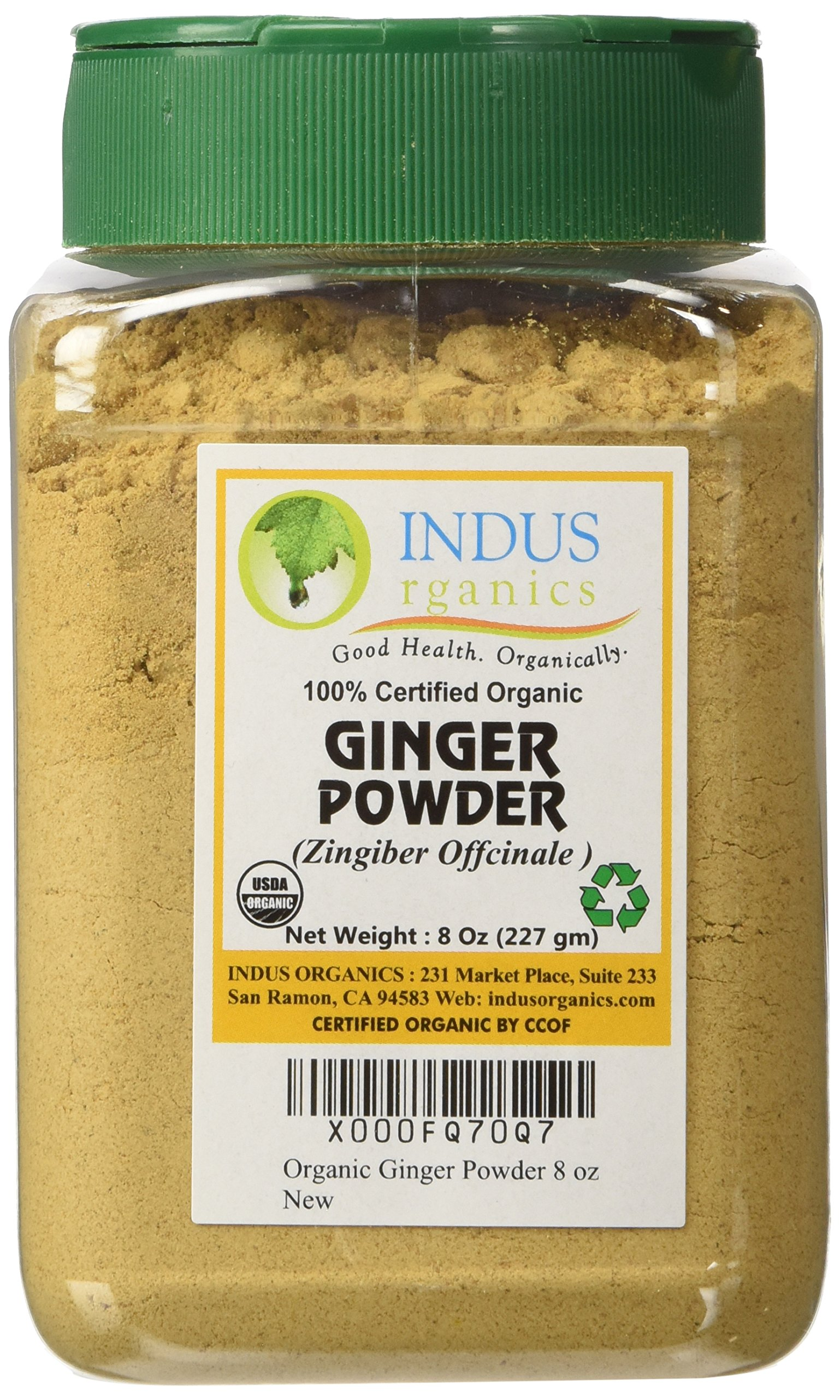 Indus Organics Ginger Powder, 8 Oz Jar, Sulfite Free, Premium Grade, High Purity, Freshly Packed