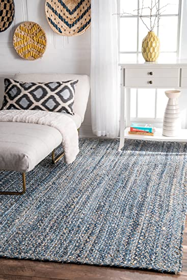 NuLOOM ASDR01A Denim Hand Braided Otelia Denim And Jute Area Rug, 4u0027 X 6