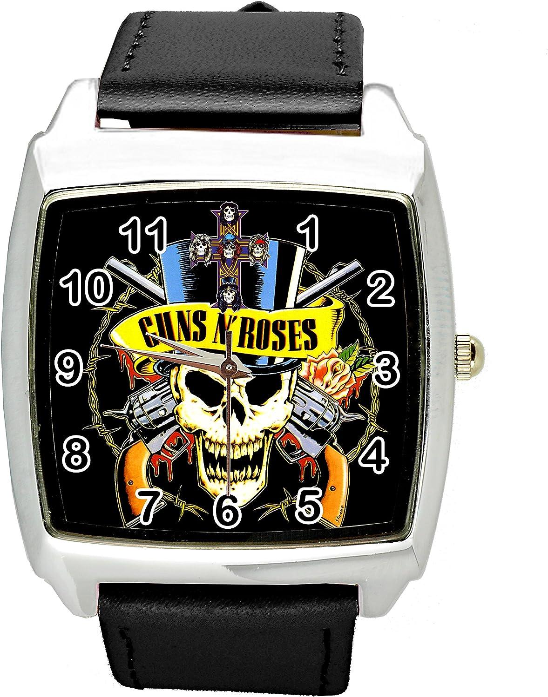 TAPORT® Guns N Roses - Reloj cuadrado de cuarzo con correa de piel auténtica, color negro: Amazon.es: Relojes
