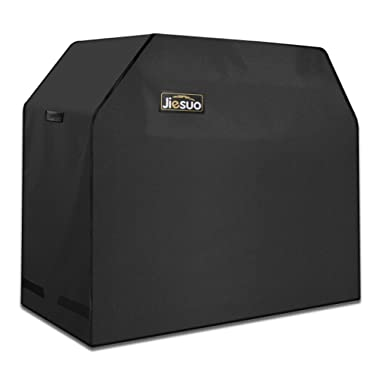 JIESUO BBQ Gas Grill Cover Heavy Duty Waterproof Weather Resistant Rip-Resistant 58 Inch 3-4 Burner Barbeque Grill Cover with Storage Bag