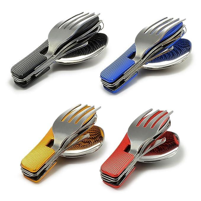 4 - Piezas Cubertería Acampada con Asa de aluminio geriffeltem (Cuchillo, Tenedor, Cuchara, Abrebotellas de acero inoxidable), - - Cubertería, ...