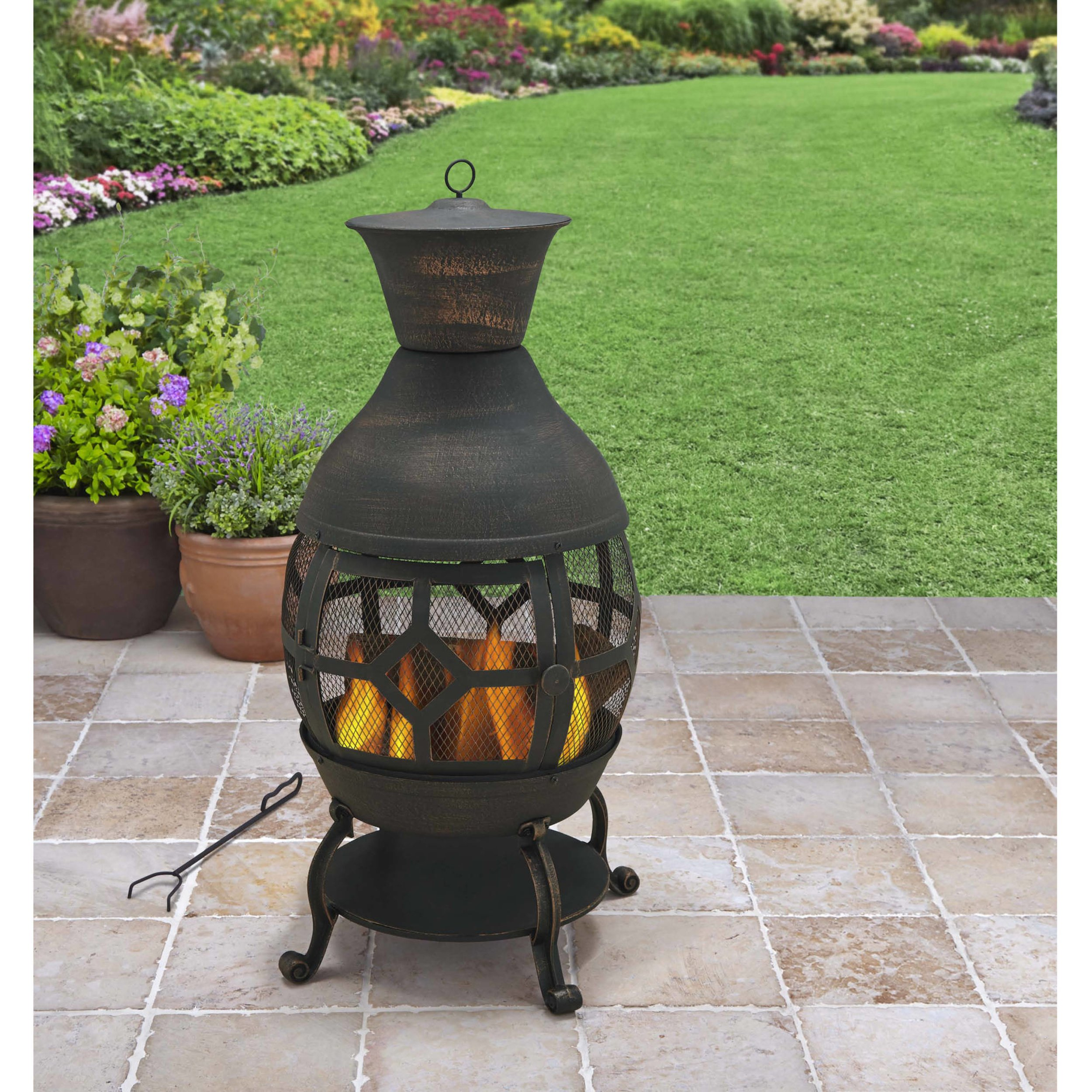 Durable Cast Iron Construction Big size Fireplace Chiminea, Antique Bronze by Better Homes & Gardens