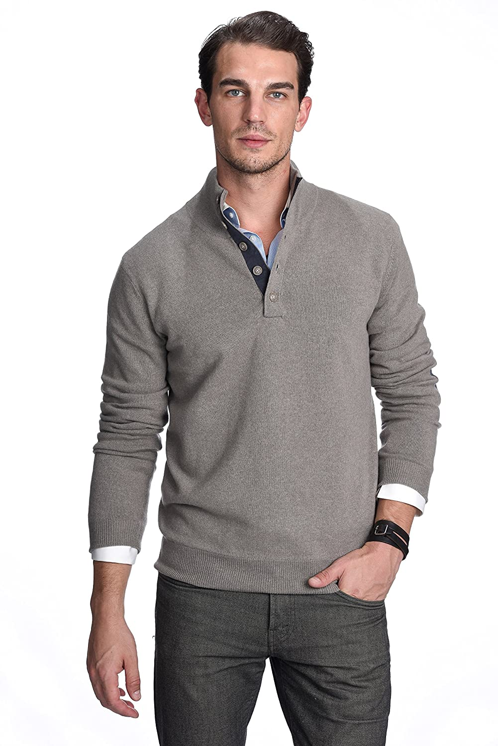 State Cashmere Men's 100% Pure Cashmere Button Mock-Neck Polo Collar Sweater Pullover ST3615