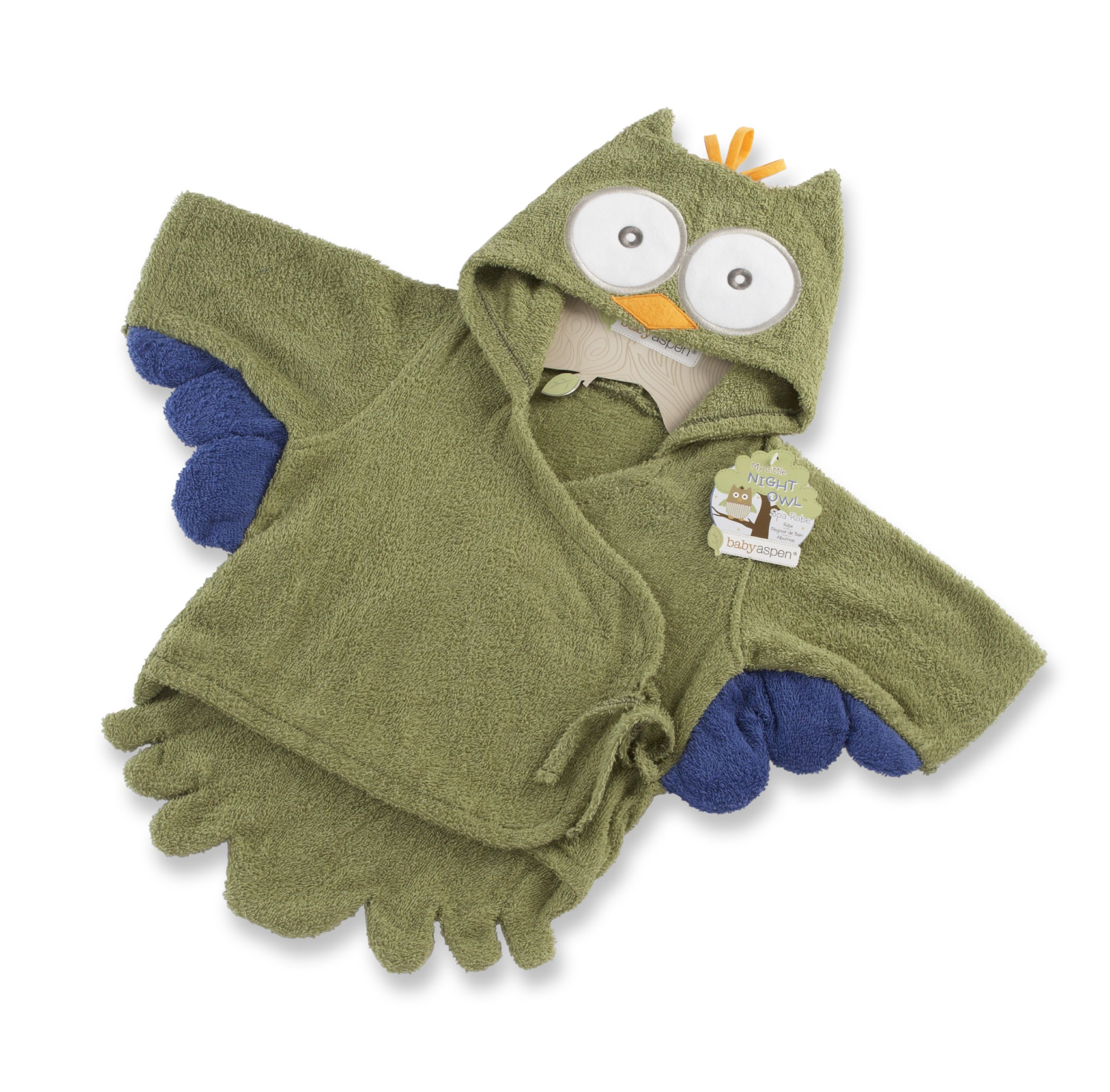 Baby Aspen, My Little Night Owl Hooded Terry Spa Robe, Green, 0-6 Months