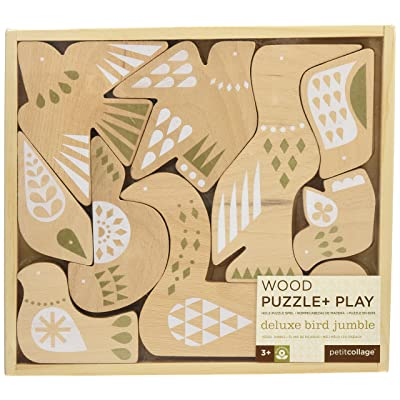 Petit Collage Birds Deluxe Wood Puzzle & Play : Baby