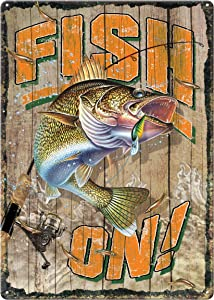 River's Edge Products Tin Sign, Fish On, Weatherproof with Pre-Punched Holes for Hanging, 12 by 17 Inches