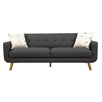 Emerald Home Remix Charcoal Sofa, With Pillows, Button Tufted Back,  Telescoped Wood Legs