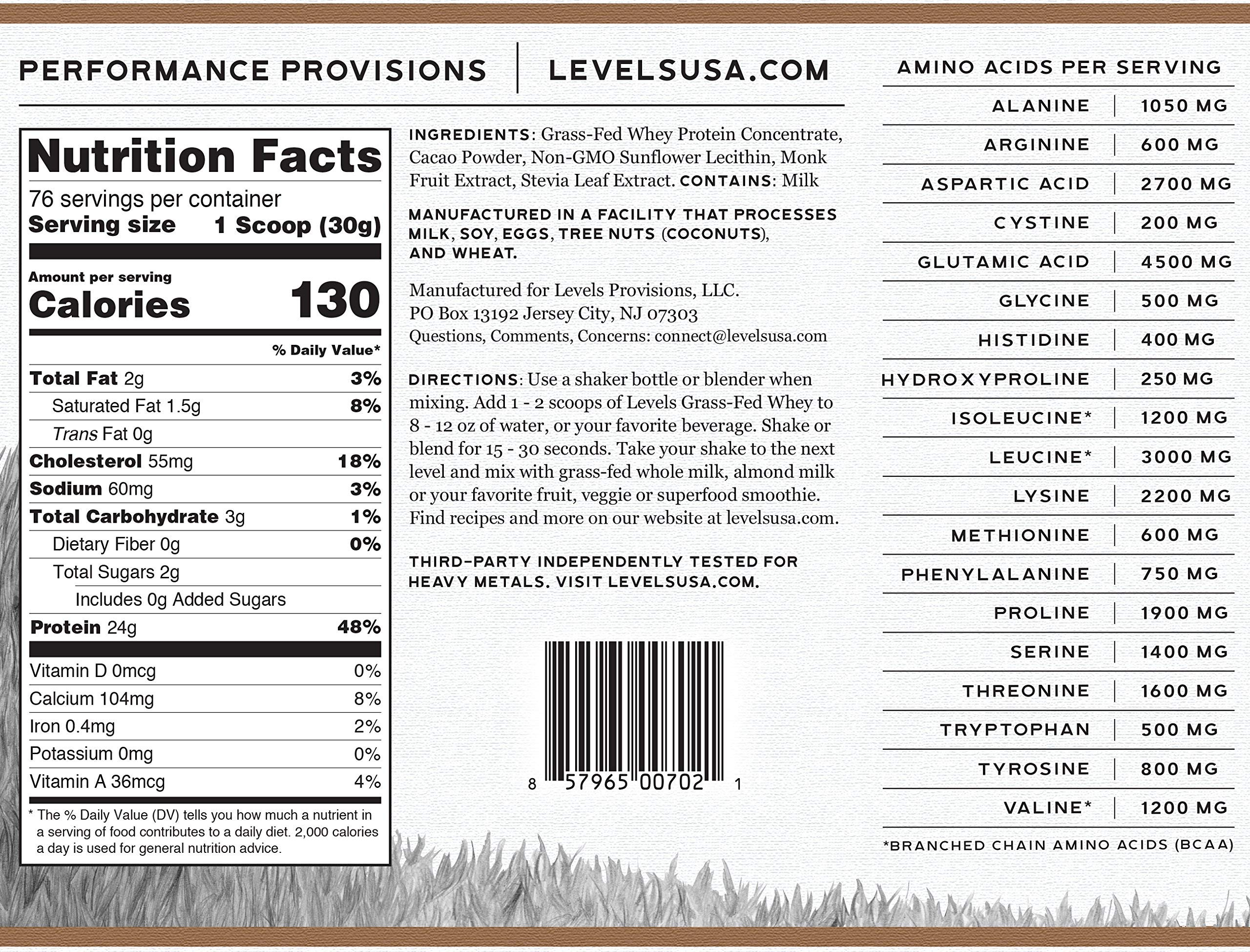 Levels 100% Grass Fed Whey Protein, No GMOs, Pure Chocolate, 5LB by Levels Nutrition (Image #5)